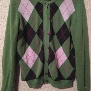 Tommy Hilfiger Plaid Green Button Up Sweater